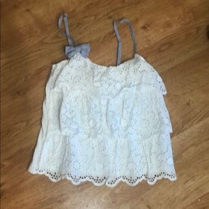NWOT S Abercrombie & Fitch white lace layer tank